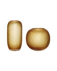 Vase, Glas - Ravgul - Rund - Hübsch