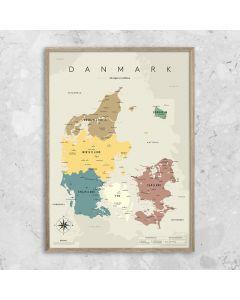 Plakat, Danmarkskort, Grå - Gehalt