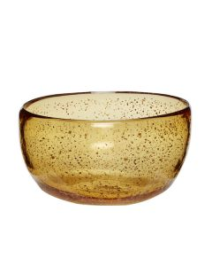 Glas skål, rav farvet m. messing detaljer - Hübsch